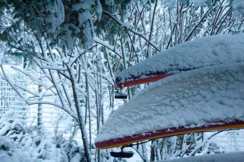 kayaks in snow, Pender Island, BC