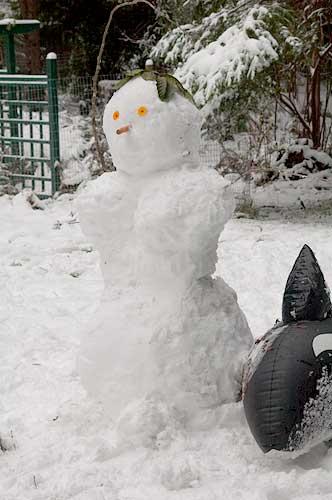 snowwoman, Pender Island, BC