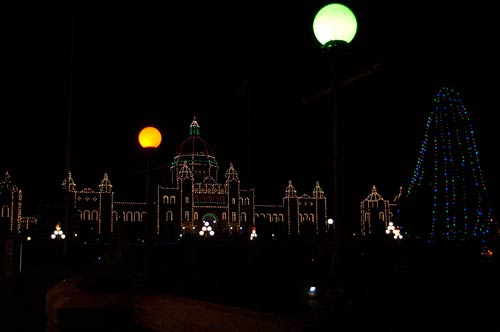 Christmas decorations of Legislature Buildings, Victoria, BC