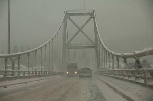 snowy bridge on Trans Canada highway