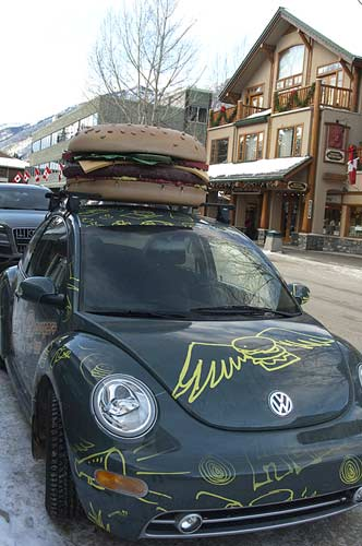 hamburger on car, Banff, Alberta