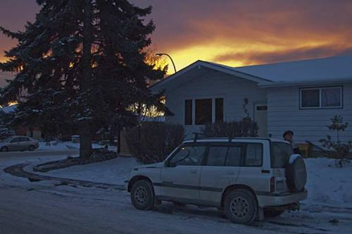 Calgary sunset with snow