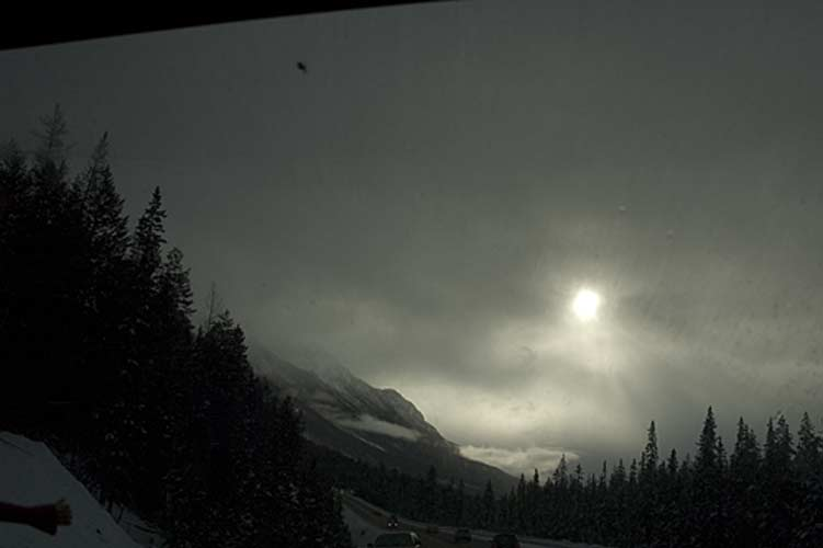 dark winter sky in Rocky Mountains