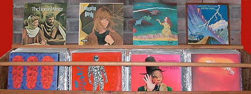 albums on display at former Pender Island home