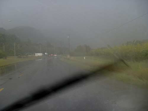 driving on Trans Canada highway near Chilliwack, BC during rainstorm