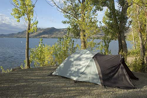 tent set up at Haynes Point Campground, Osoyoos