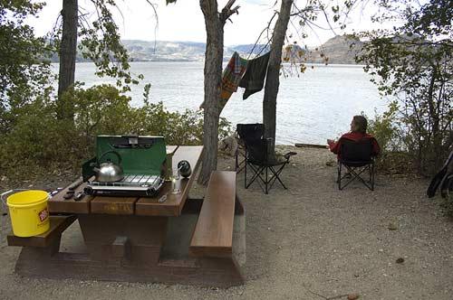 view of campsite at Okanogan Lake campgrounds