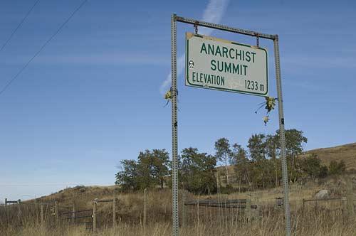 Anarchist Summit sign, BC