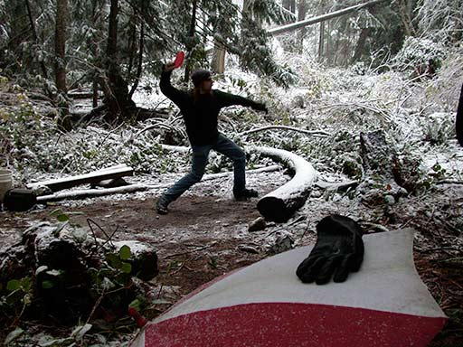 disc golf in snow, Pender Island, BC