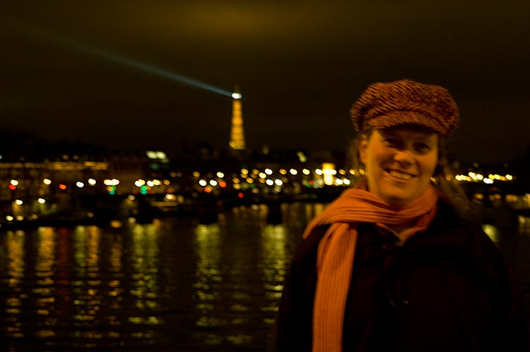 Sue in Paris at night