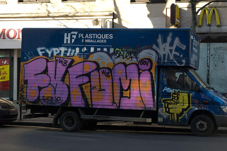 graffiti on Paris van