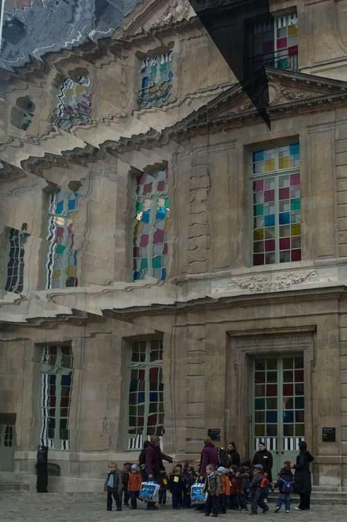 Musée Picasso showing installation by Daniel Buren