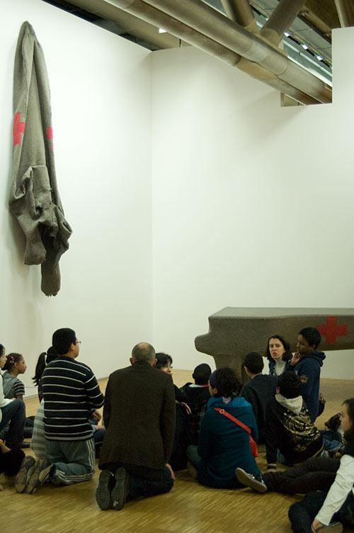 school children with Joseph Beuys piece at Centre Pompidou