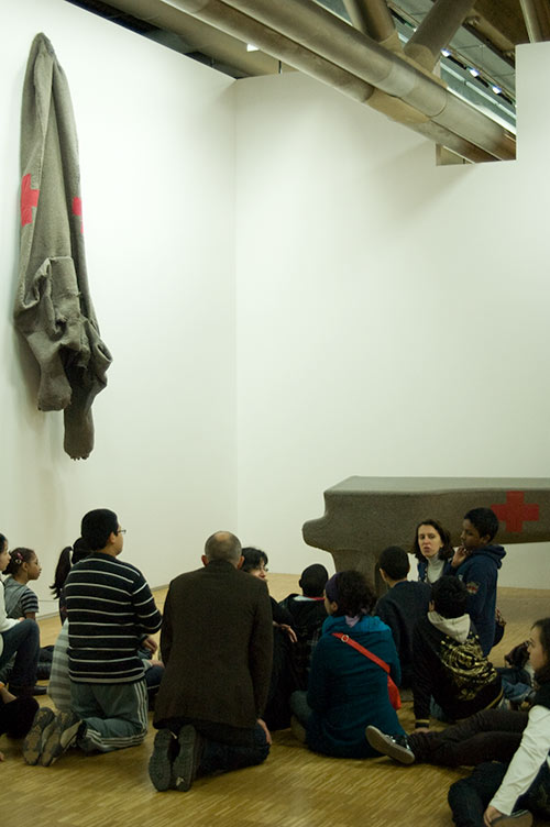 school children with Joseph Beuys piece at Centre Pompidou