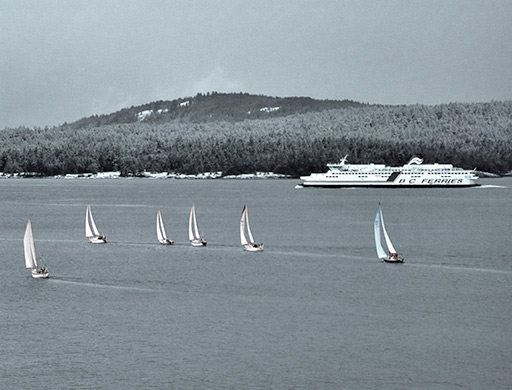 sailboats and BC Ferry by Salt Spring Island, BC