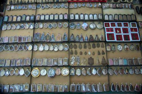 amulets for sale by Wat, Bangkok, Thailand