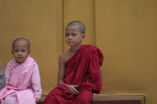 Young Nun and Monk at Pagoda