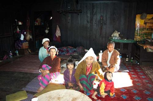 village chief and family, Myanmar
