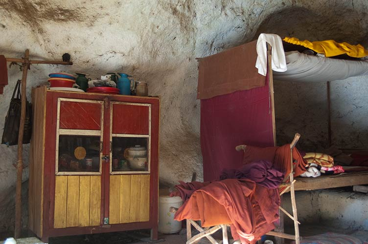 monk's home in a cave, Myanmar