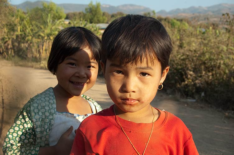 girls near Inle Lake, Myanmar
