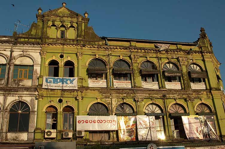 colonial style building in Yangon, Myanmar