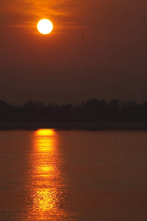 sunrise over the Mekong River, Champasak, Laos