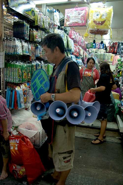 megaphones in Chinatown, Bangkok, Thailand