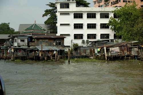 buildings along Chao Phraya River, Bangkok, Thailand