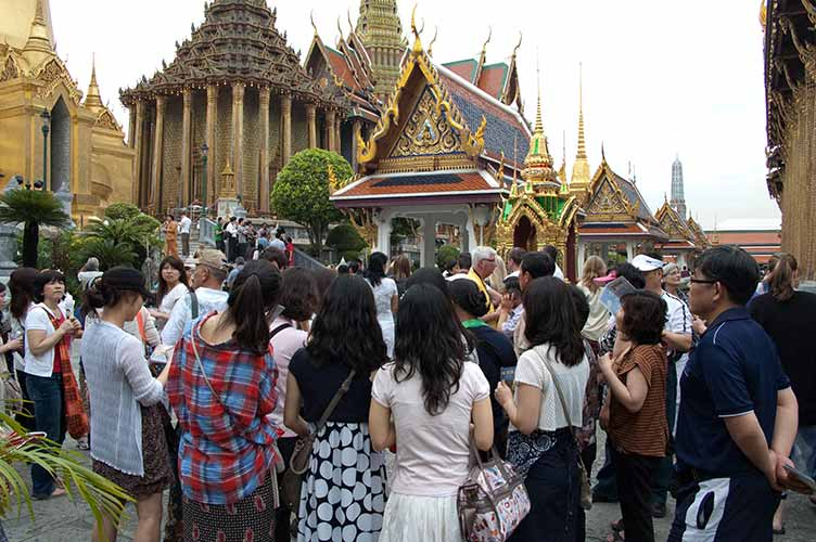crowds at Grand Palace, Bangkok, Thailand