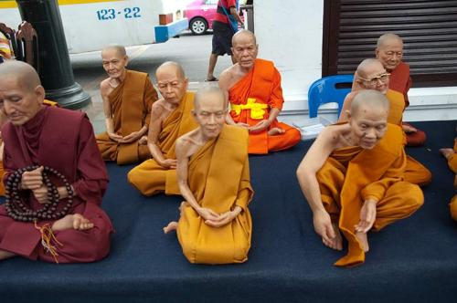 monk statuettes, Bangkok, Thailand