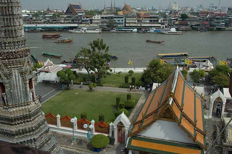 view from prang at Wat Arun, Bangkok, Thailand
