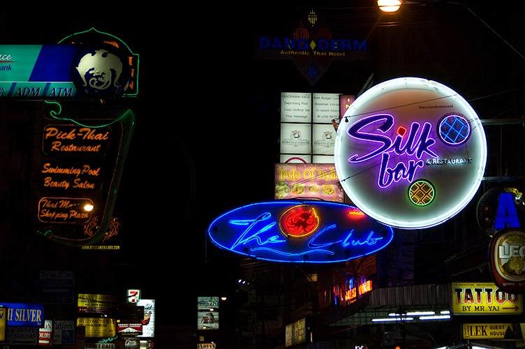 signs, Khao San Road, Bangkok, Thailand