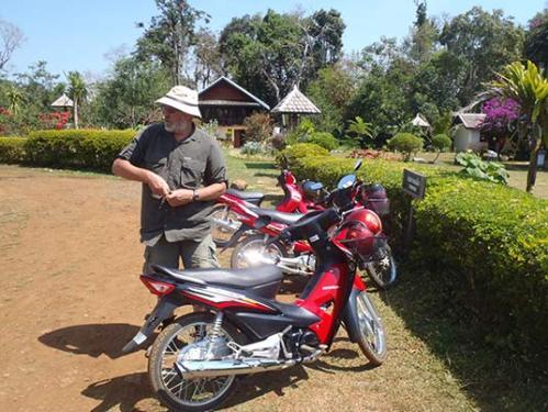 the rented motorcycle, Sinouk Lodge, Laos