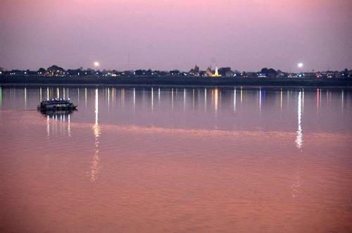 sunset over the Mekong River from Tha Khaek, Laos