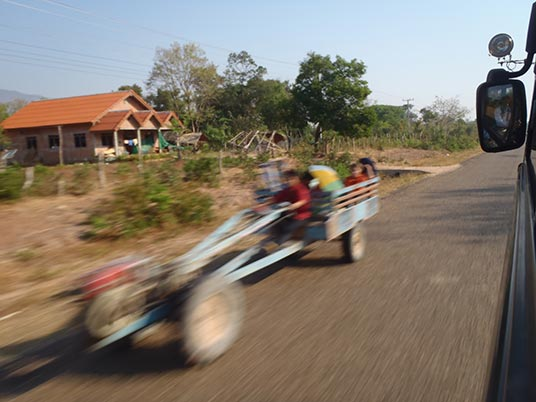 farm vehicle outside Pakse, Laos