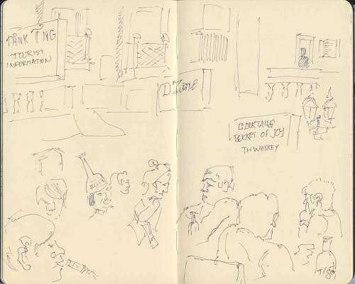 sketch of passing scene on Khao San Road, Bangkok, Thailand
