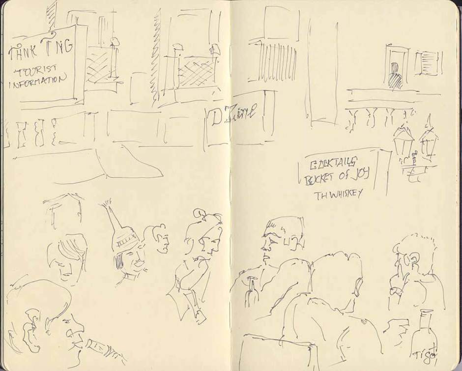 sketch of passing scene on Khao San Road, Bangkok, Thailand