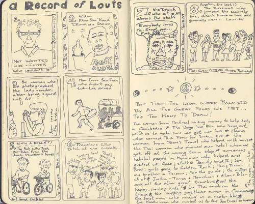 sketch book page showing louts encountered in SEAsia