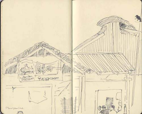 sketch of restaurant roofline in Myanmar