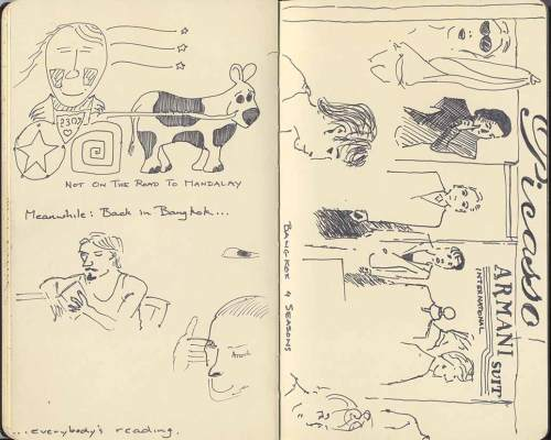 two pages from my sketchbook created in Bangkok