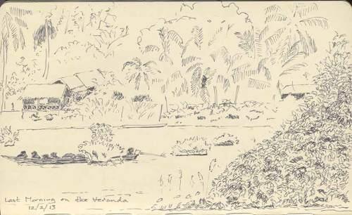 sketch of Mekong River, 4000 Islands, Laos
