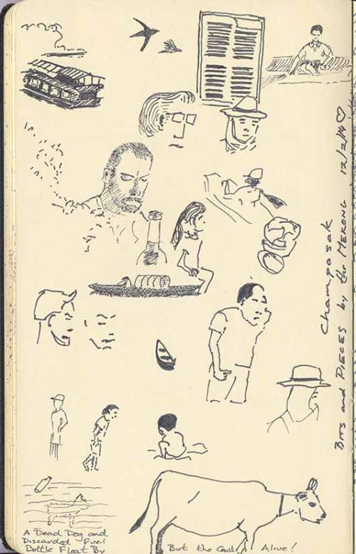 sketches of various people and animals in Champasak, Laos