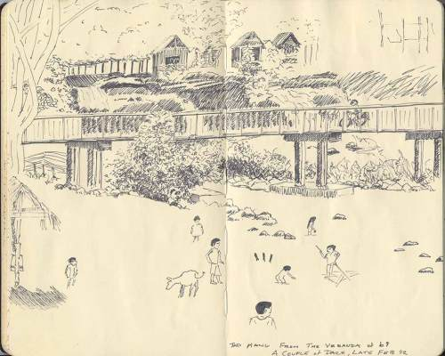 sketch of Tad Hang, waterfall, Laos