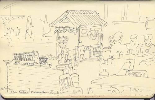 sketch of street food vendor, Tha Khaek, Laos