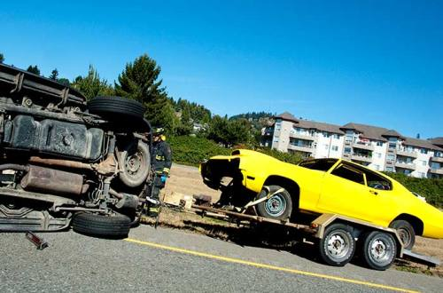 flipped truck on Trans Canada highway outside Chilliwack, BC