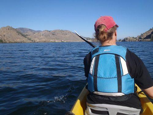 Sue kayaking on Skaha Lake