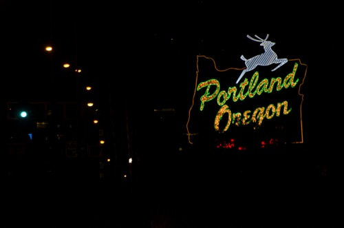 Portland Oregon Leaping Stag sign