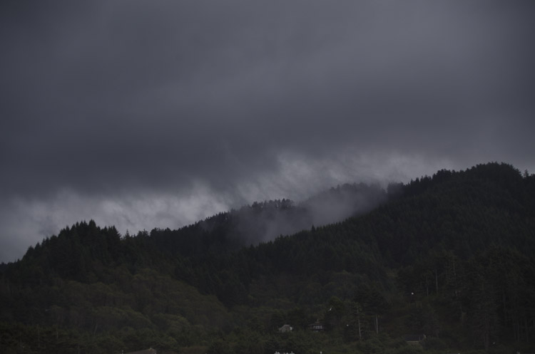 Oregon Coast hills and rain