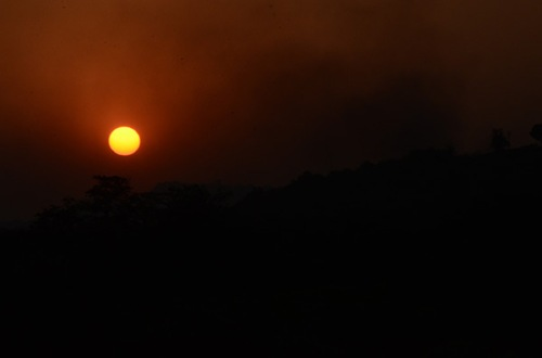 train-sunset
