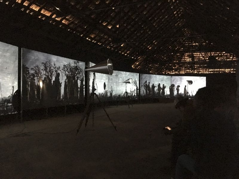 Partial View of More Sweetly Play the Dance by William Kentridge at the Kochi Muziris Biennale